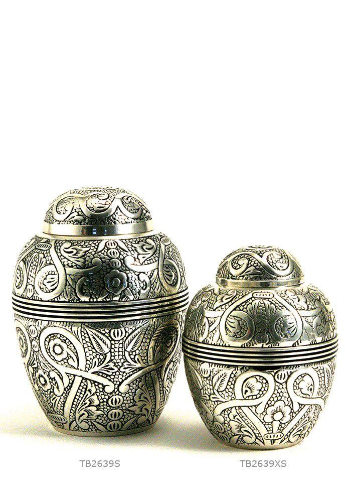 Medium Grote Antique Silver Dieren Urn (1.3 liter)