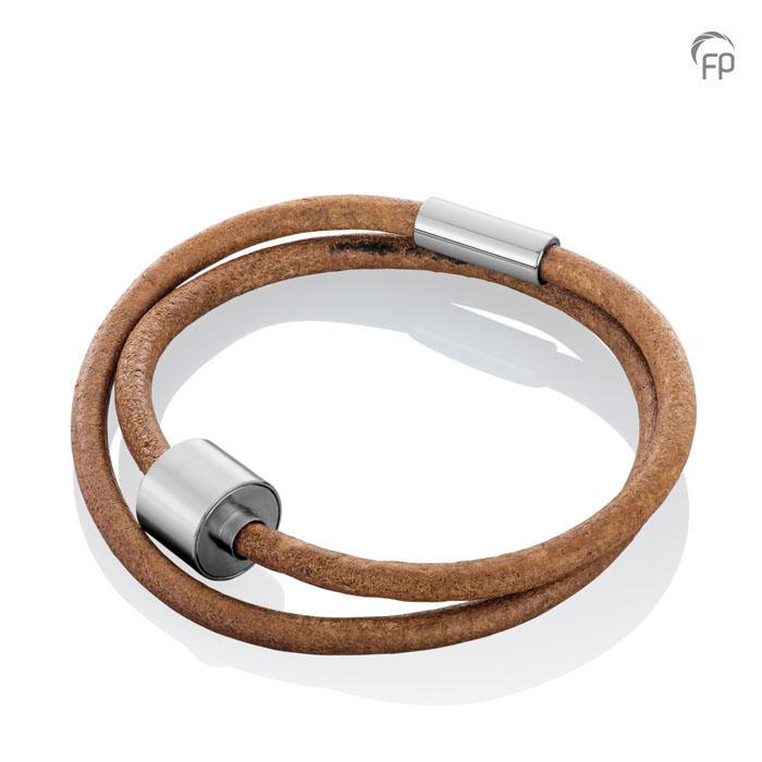 Bruinlederen Barrel Spang Armband, RVS Asruimte