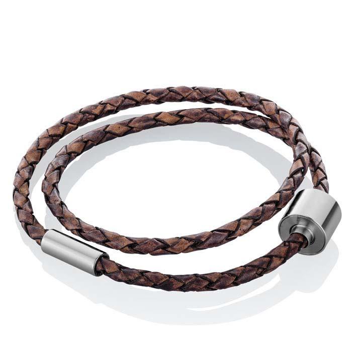 Gevlochten Bruinlederen Barrel Spang Armband, RVS Asruimte