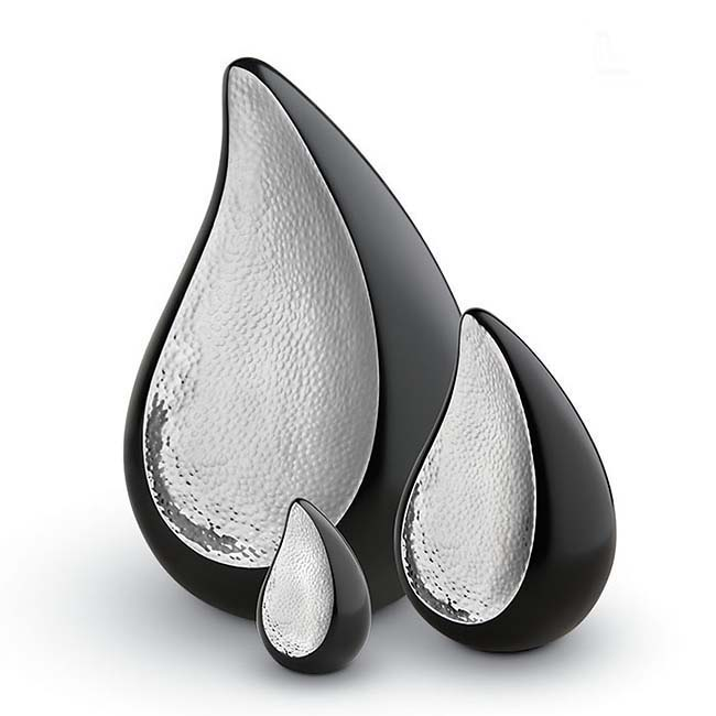 Mini Teardrop Urn Black - Silver (0.1 liter)