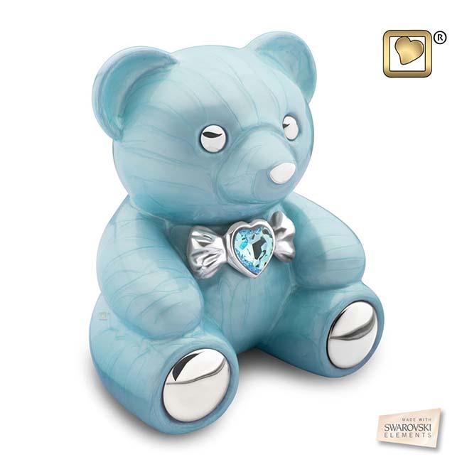 Messing Dierenurn Blauwe Teddybeer (1.8 liter)