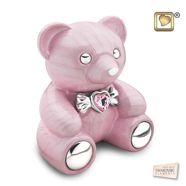 Messing Dierenurn Roze Teddybeer (1.15 liter)