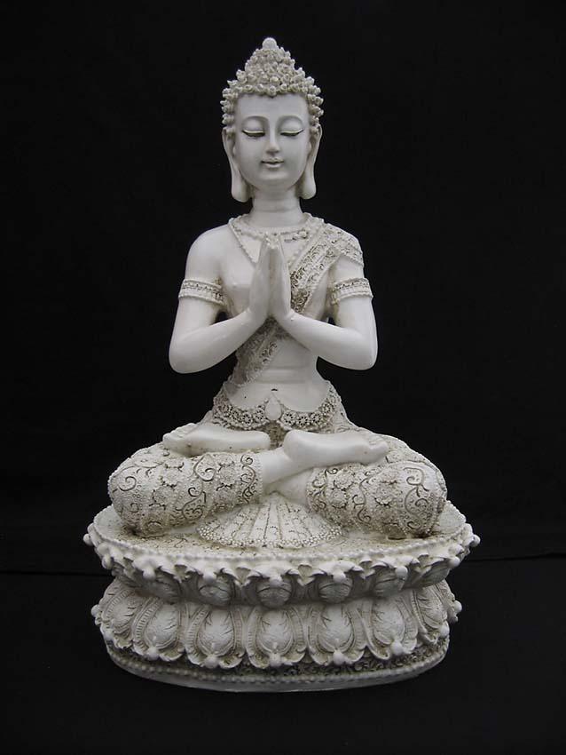 Tibetaanse Meditatie Boeddha Urn Oudwit (1.5 liter)