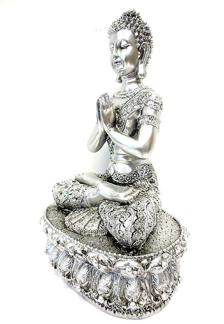Tibetaanse Meditatie Boeddha Urn Zilver  (1.5 liter)