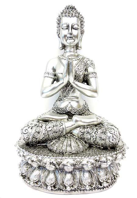 Tibetaanse Meditatie Boeddha Dieren Urn Zilver  (1.5 liter)