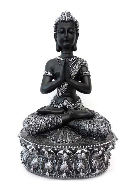 Tibetaanse Meditatie Boeddha Urn Zwart- Zilver (1.5 liter)