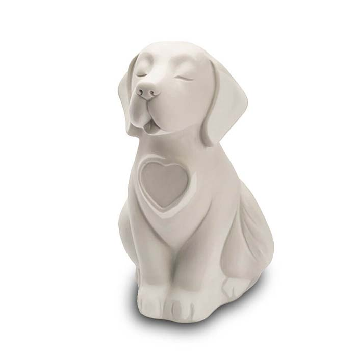 Honden urn of Asbeeld Hond Hartje Wit (0.8 liter)