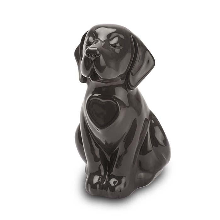 Hondenurn of Asbeeld Hond Hartje Zwart (0.8 liter)