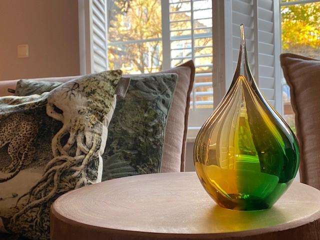Kristalglazen 3D Traan Urn Goud-Groen (0.18 liter)