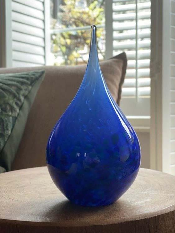 Kristalglazen 3D Traan Urn Blauw Opaque (0.18 liter)