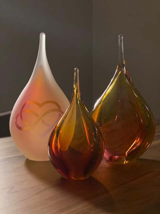Kristalglazen 3D Traan Urn Rose-Goud (0.18 liter)