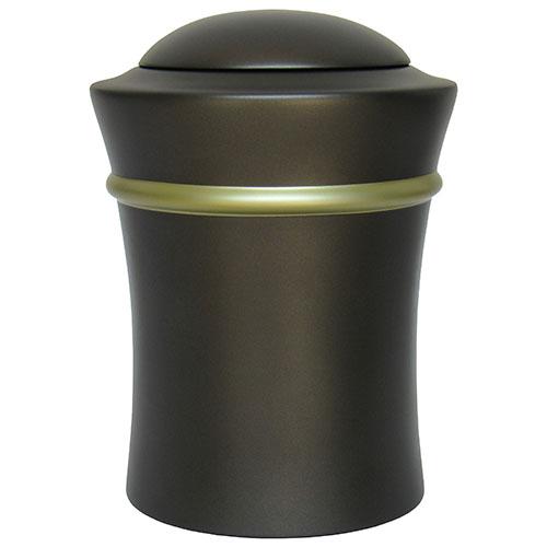 Ronde Resin Vaas Urn, gold band (3.5 liter)