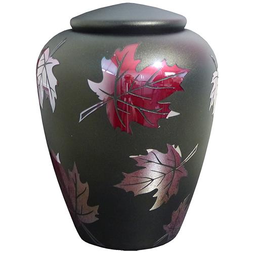 Glazen Urn Antraciet - Rookzilver Esdoorn Blad (4 liter)