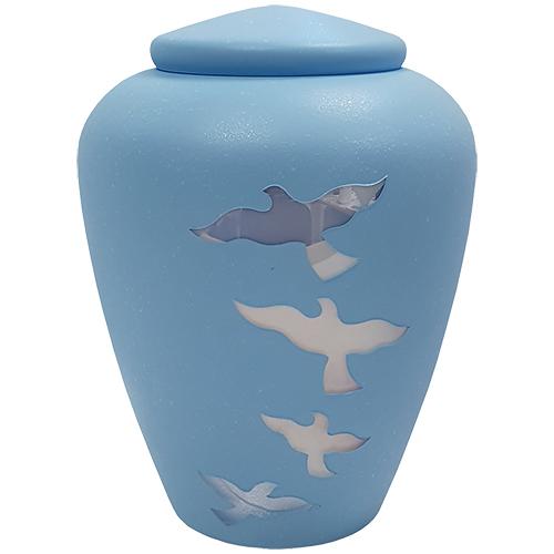 Glazen Urn Matblauw - Opvliegende Duiven (4 liter)