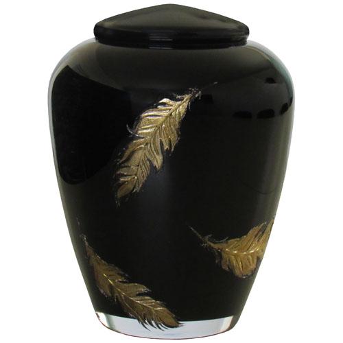 Glazen Urn Glimmend Zwart - Gouden Veren (4 liter)