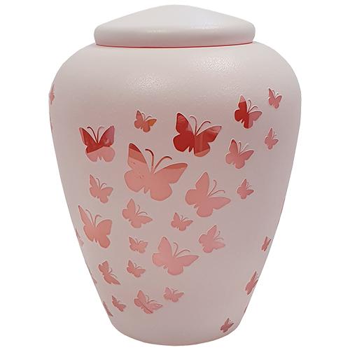 Grote Glazen Dierenurn Wit - Roze Vlinders (4 liter)