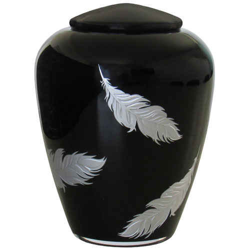 Glazen Urn Glimmend Zwart - Zilveren Veren (4 liter)