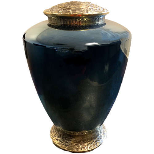 Blauwe Glazen Urn, Messing Voet en Deksel (4 liter)
