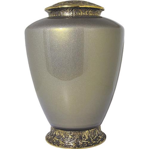 Bronskleurige Glazen Urn, Messing Voet en Deksel (4 liter)