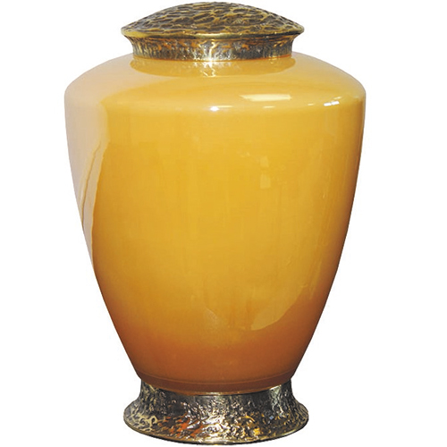 Gele Glazen Urn, Messing Voet en Deksel (4 liter)