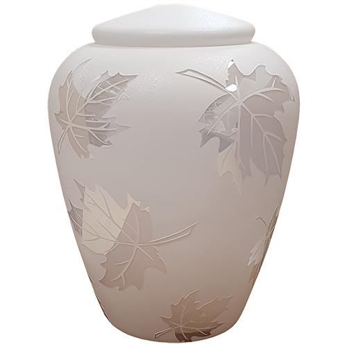 Glazen Urn Wit - Spiegelend Esdoorn Blad (4 liter)