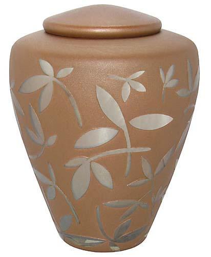 Glazen Urn Caramel Zilveren Sierbladeren (4.4 liter)
