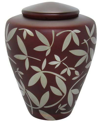 Glazen Urn Chocolade Zilveren Sierbladeren (4.4 liter)