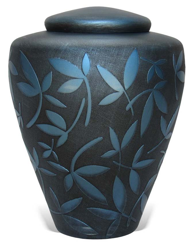 Glazen Urn Blauwe Sierbladeren (4.4 liter)