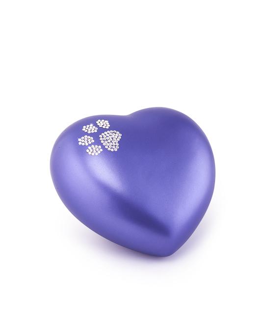 Kleine Dieren Hart Urn Violet Swarovski Pootje (0.5 liter)