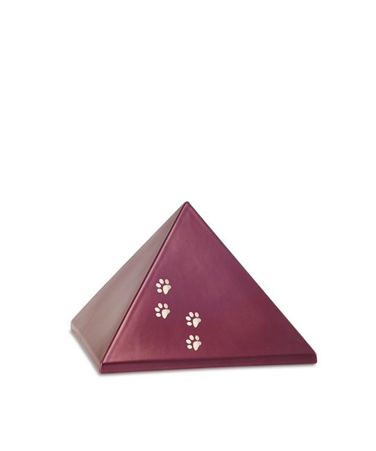 Kleine Piramide Urn Wijnrood Vier Pootjes (0.5 liter)