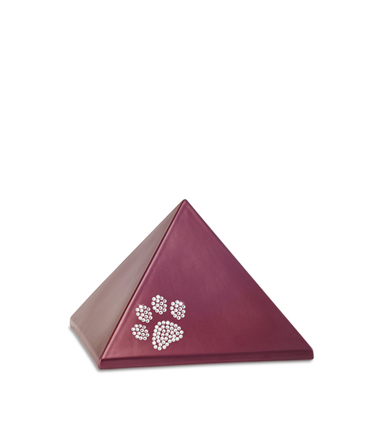 Kleine Piramide Urn Wijnrood Swarovski Pootje (0.5 liter)