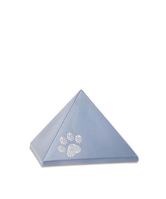 Kleine Piramide Urn Staalkleurig Swarovski Pootje (0.5 liter)