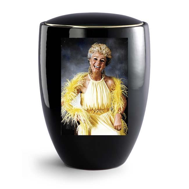 Grote Zwarte Florentina Urn met Eigen Foto (4 liter)