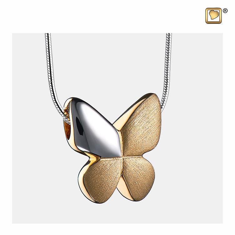 Ashanger Vlinder Bicolor Verguld Zilver, inclusief Collier