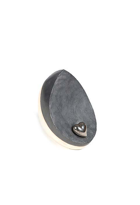 Mini Keramische Urn Wit-Zwart, Zilver Hart (0.8 liter)