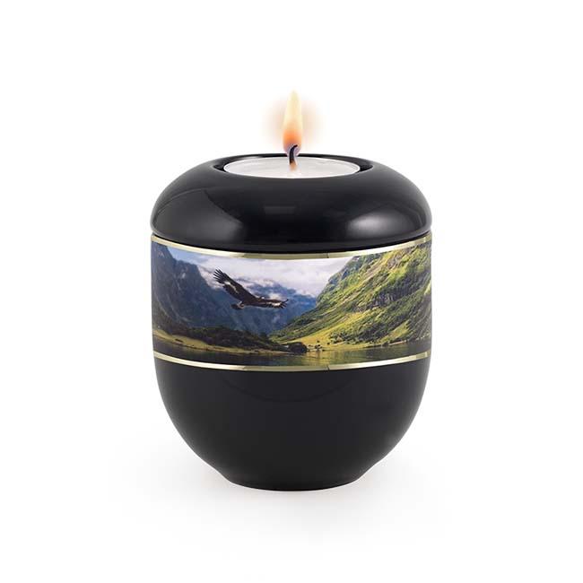 Zwart Waxinelicht Urntje Adelaar (0.3 liter)
