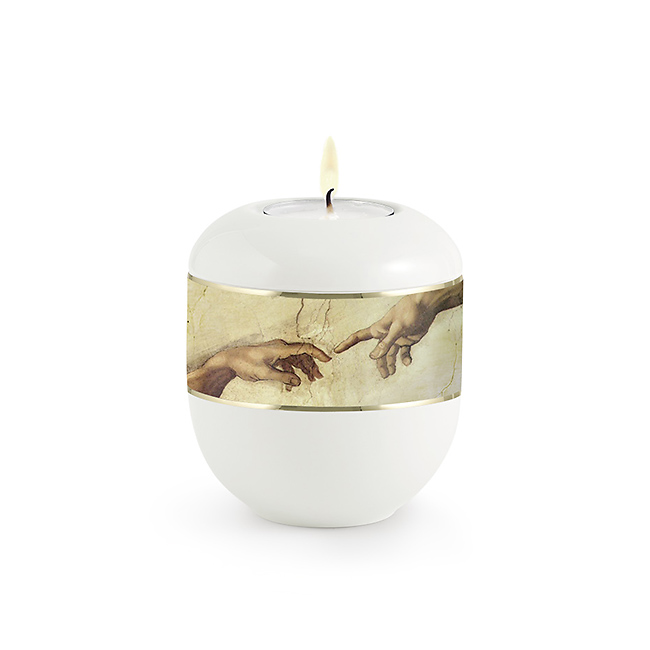 Satijnwit Waxinelicht Urntje Michelangelo (0.3 liter)