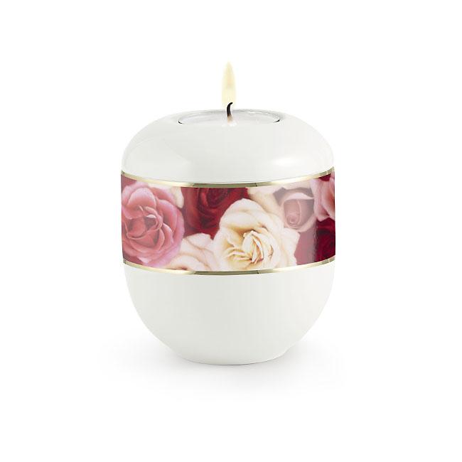 Satijnwit Waxinelicht Urntje Veelkleurige Rozen (0.3 liter)