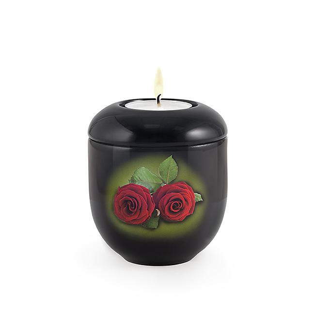 Diepzwart Waxinelicht Urntje Rode Rozen (0.3 liter)