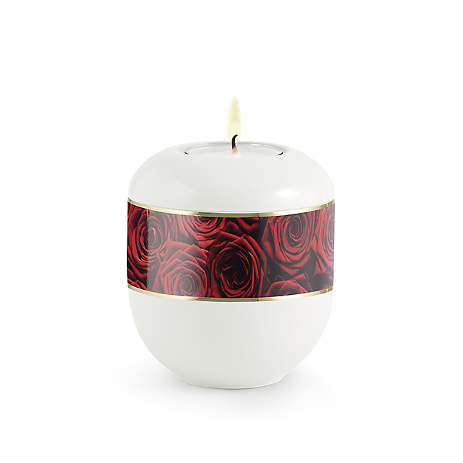 Satijnwit Waxinelicht Urntje Rode Rozenbouquet (0.3 liter)