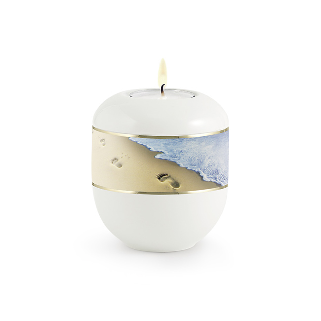 Satijnwit Waxinelicht Urntje Strandafdrukken (0.3 liter)