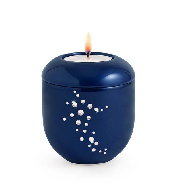 Koningsblauw Waxinelicht Urntje Swarovski (0.3 liter)