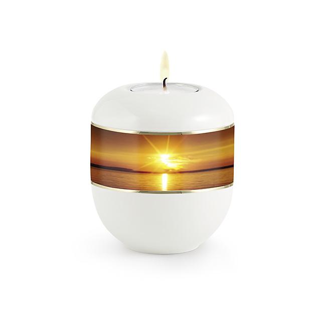 Satijnwit Waxinelicht Urntje Zonsondergang (0.3 liter)