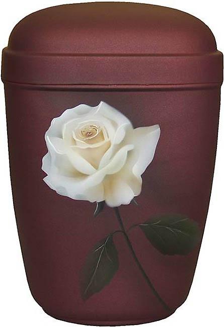 Design Urn Witte Roos op Matrood (4 liter)