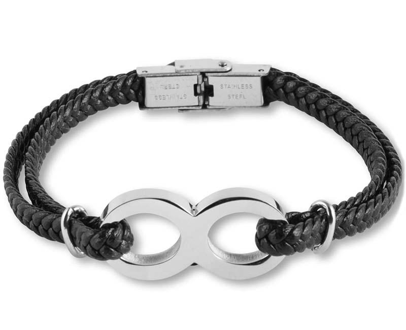 Zwart Lederen Aurora Armband Infinity met RVS Asruimte