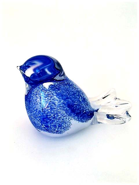 Kristalglazen 3D Mini Vogel Urn Blauw (0.03 liter)