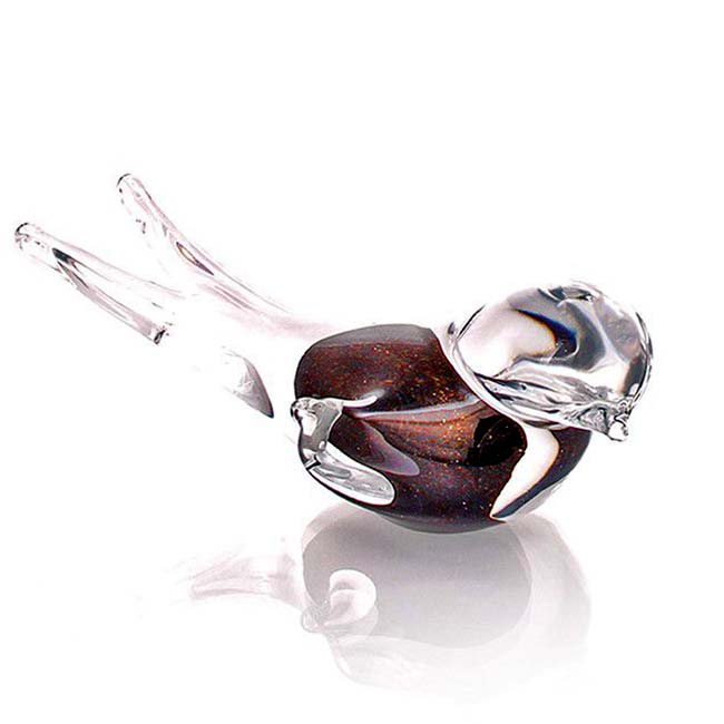 Kristalglazen Mini Vogel Urn Bruin Aventurijn (0,05 liter)