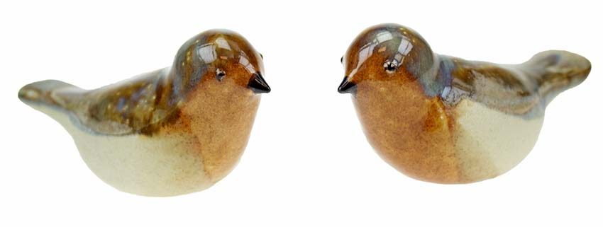 Vogel Urn Robin, Roestbruin-Zilverwit (0.06 liter)