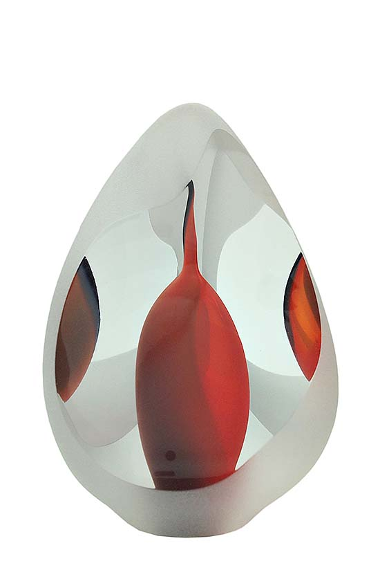 Kristalglazen 3D Traan Urn Reflection Red (0.08 liter)