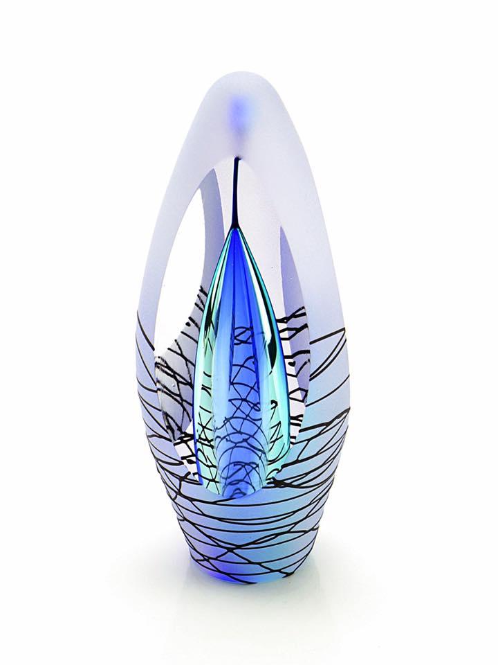 Premium Kristalglazen 3D Traan Urn Spirit Purple (0.07 liter)